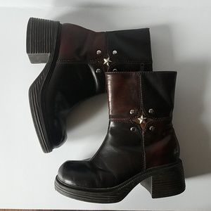 Girls sz.13 brown zip up high heel boots